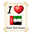 I love United Arab Emirates vector image vector image
