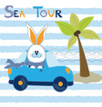Cute Bunny at the car in sea tour vector image
