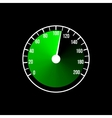 Green speedometer design on a black vector image