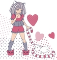 Manga style girls with toy background vector image vector image