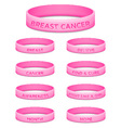 Breast cancer awareness month rubber wristband vector image