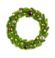 christmas wreath with ball vector image