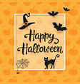 happy halloween handwritten lettering vector image