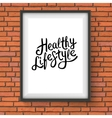 Healthy Lifestyle Texts in Frame Hanging on a Wall vector image