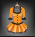 orange dress on hanger vector image