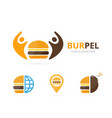 set of burger logo combination hamburger and vector image