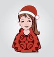 santa girl-girl in a Santa cap vector image
