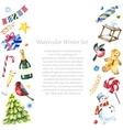 Watercolor winter frame design vector image