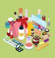 female cosmetics make-up set isometric vector image vector image
