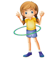 A young girl playing with the hulahoop vector image vector image