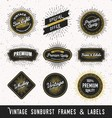 Set of frame and label with vintage sunburst vector image vector image