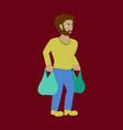man on shopping with packages vector image