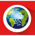 map with icon rain cloud weather graphic vector image