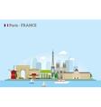 Paris skyline in flat style vector image