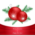 White Christmas card with red silk Green branch vector image
