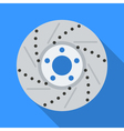 Colorful brake disc icon in modern flat style with vector image