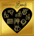 set of beauty cosmetics icons drawn in gold lines vector image
