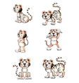 Tigers in six different positions vector image vector image