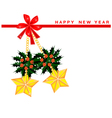 New Year Card with Stars and Christmas Holly vector image