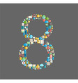 Eight number social network with media icons vector image vector image