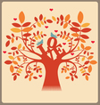 Tree with love message and doves vector image vector image