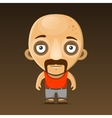 Bald Man Cartoon Character with Mustache vector image