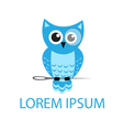 Cartoon owl sitting on a needle logo vector image