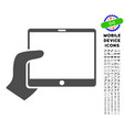 hand holds tablet icon with set vector image