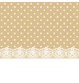 lace and ribbon on polka dot fabric vector image vector image