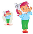little girl with toothache and warming vector image