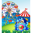 A baby blue monster at the carnival vector image vector image