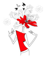 woman with red flowers vector image