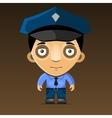 Cartoon Police Officer on Dark Background vector image