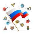 russia design template line icon concept and flag vector image