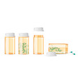 set of closed and open pill bottles isolated on vector image