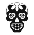 sugar skull flowers on the skull icon simple vector image