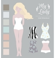 Girl model swimwear mockup Cute dress up paper vector image