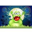 A happy fat green monster at the amusement park vector image