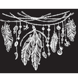 Feathers and ribbons in tribal style on black vector image