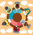 Business people working on the round table vector image