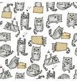 Cute kittens seamless background vector image