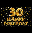gold foil 30th birthday calligraphy lettering vector image