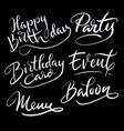 party and birthday hand written typography vector image