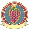Red grapes label with scroll for text on old vector image