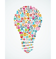 Social media icons isolated idea light bulb EPS10 vector image
