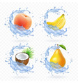 sweet fruit banana coconut peach pear vector image