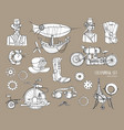 steampunk objects and mechanism collection machine vector image