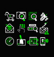 hacking icons set vector image vector image
