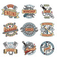 colored auto repair service logotypes set vector image
