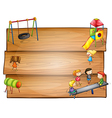 Empty wooden signboards with kids playing vector image